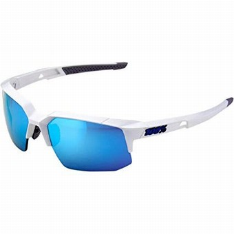 61031-000-75-SPEEDCOUPE - Matte White - HiPER Blue Multilayer Mirror Lens